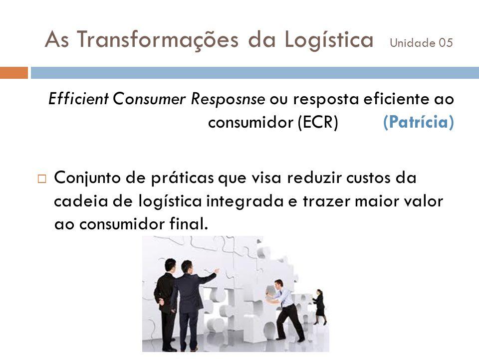 As Transformações da Logística Unidade 05 Efficient Consumer Resposnse ou resposta eficiente ao consumidor (ECR) (Patrícia) Conjunto de práticas que v