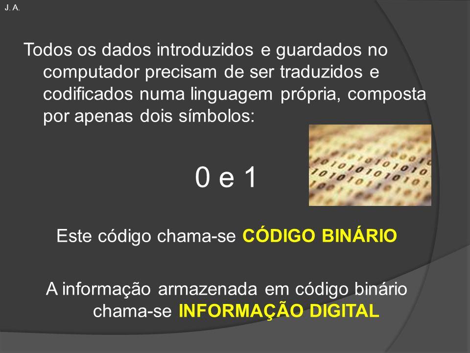 Todos os dados introduzidos e guardados no computador precisam de ser traduzidos e codificados numa linguagem própria, composta por apenas dois símbol