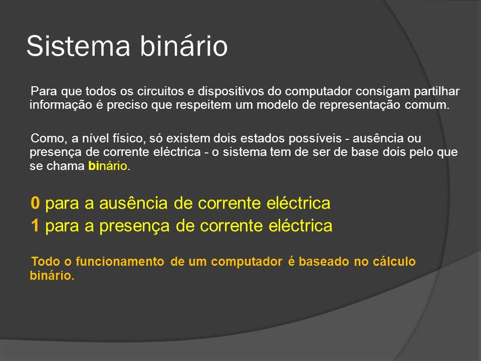 Sistema binário Para que todos os circuitos e dispositivos do computador consigam partilhar informação é preciso que respeitem um modelo de representa