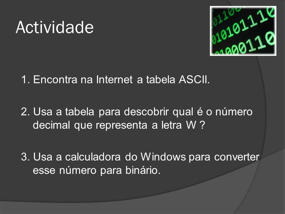 Actividade 1. Encontra na Internet a tabela ASCII. 2. Usa a tabela para descobrir qual é o número decimal que representa a letra W ? 3. Usa a calculad