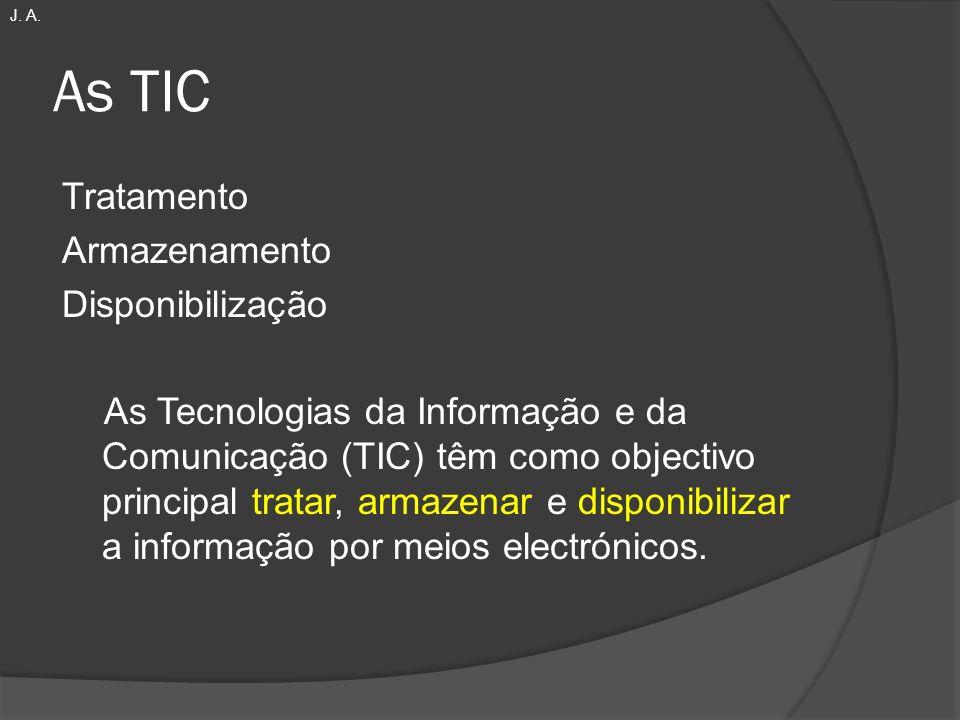 As TIC Tratamento Armazenamento Disponibilização As Tecnologias da Informação e da Comunicação (TIC) têm como objectivo principal tratar, armazenar e