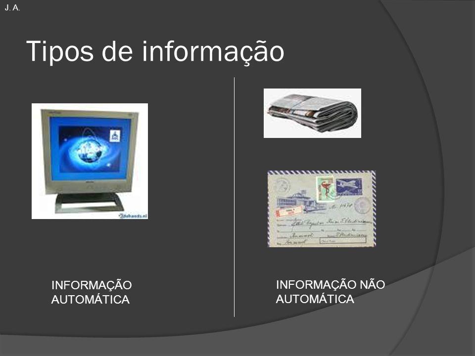 Tipos de informação INFORMAÇÃO NÃO AUTOMÁTICA INFORMAÇÃO AUTOMÁTICA J. A.