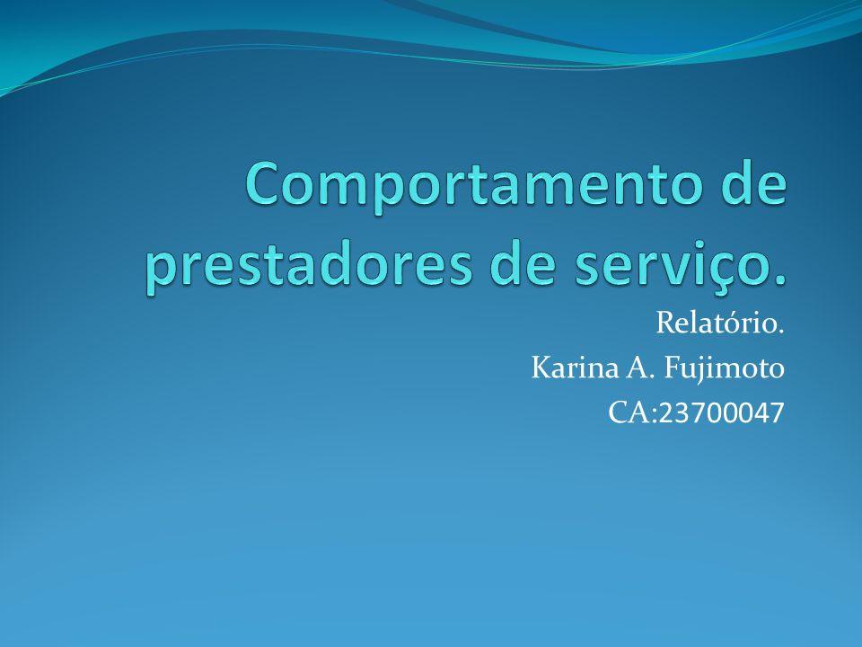 Relatório. Karina A. Fujimoto CA:23700047