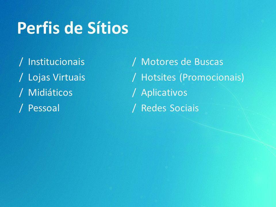 Perfis de Sítios / Institucionais / Lojas Virtuais / Midiáticos / Pessoal / Motores de Buscas / Hotsites (Promocionais) / Aplicativos / Redes Sociais