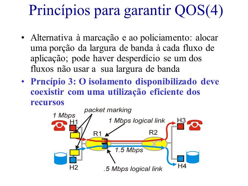 Princípios para garantir QOS(4) Alternativa à marcação e ao policiamento: alocar uma porção da largura de banda à cada fluxo de aplicação; pode haver