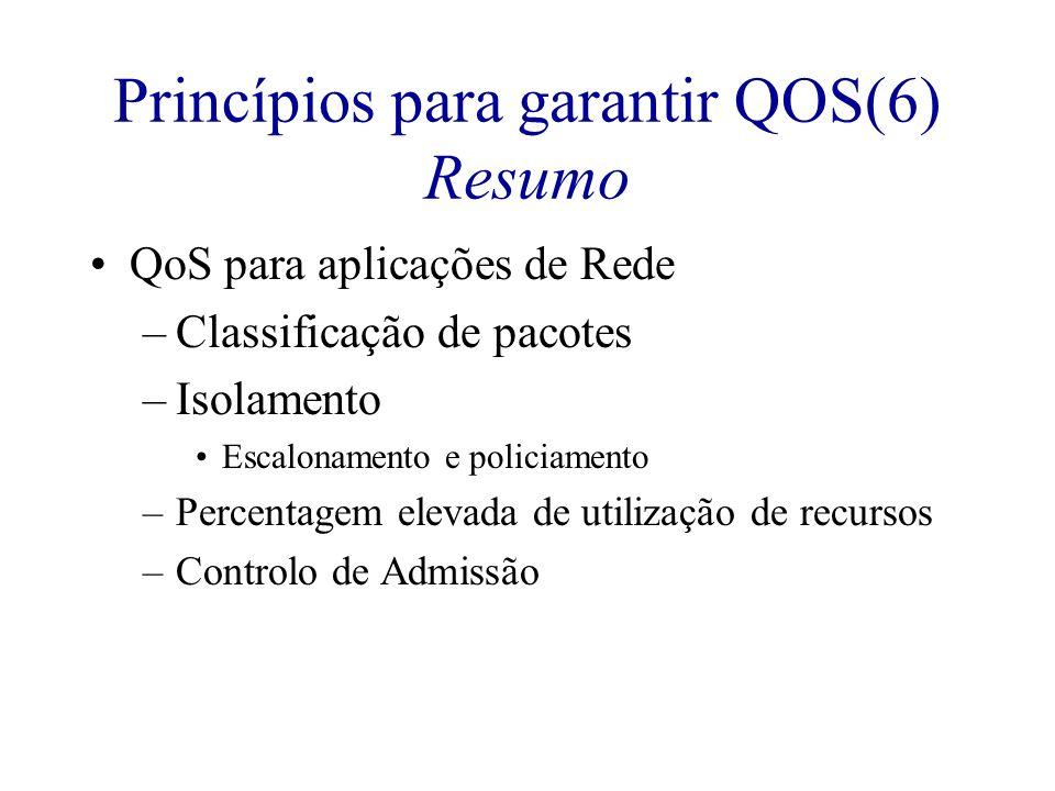 Princípios para garantir QOS(6) Resumo QoS para aplicações de Rede –Classificação de pacotes –Isolamento Escalonamento e policiamento –Percentagem ele