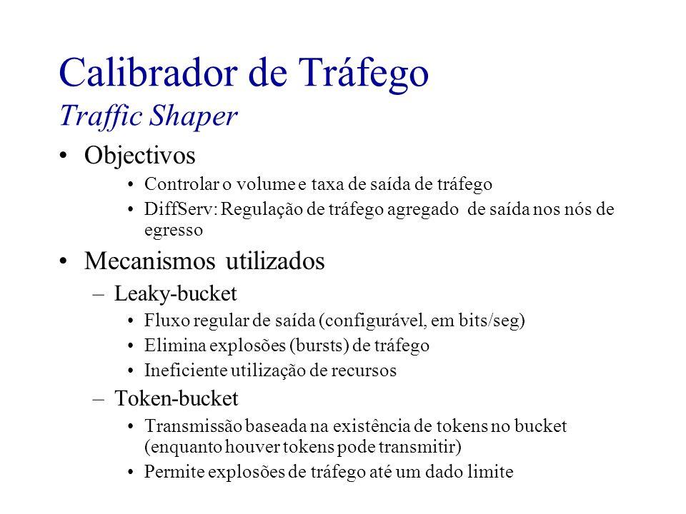 Calibrador de Tráfego Traffic Shaper Objectivos Controlar o volume e taxa de saída de tráfego DiffServ: Regulação de tráfego agregado de saída nos nós