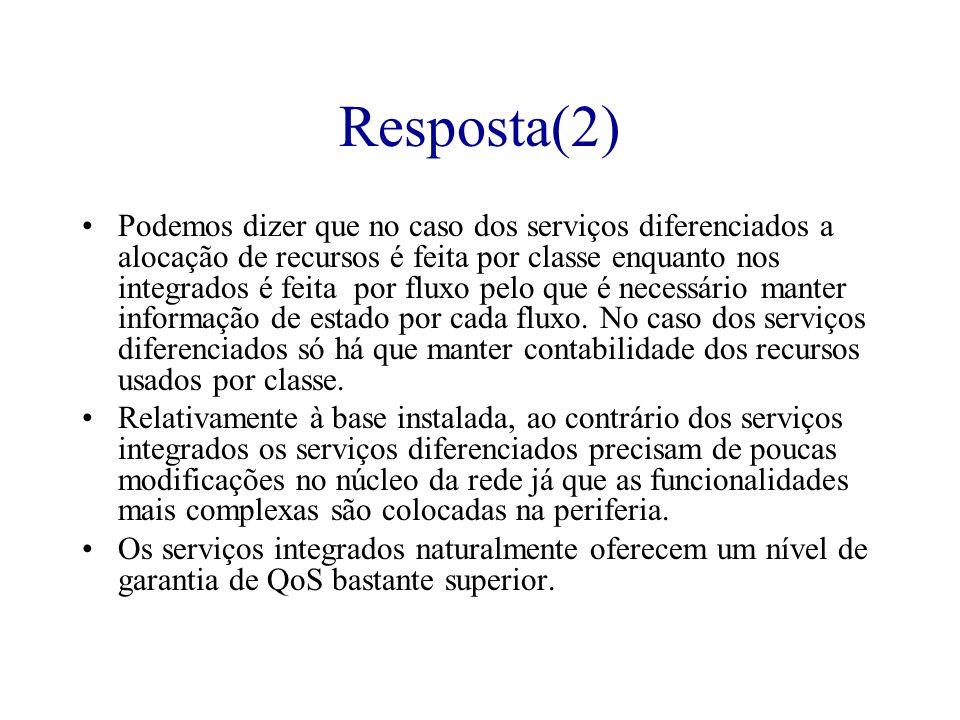 Resposta(2) Podemos dizer que no caso dos serviços diferenciados a alocação de recursos é feita por classe enquanto nos integrados é feita por fluxo p