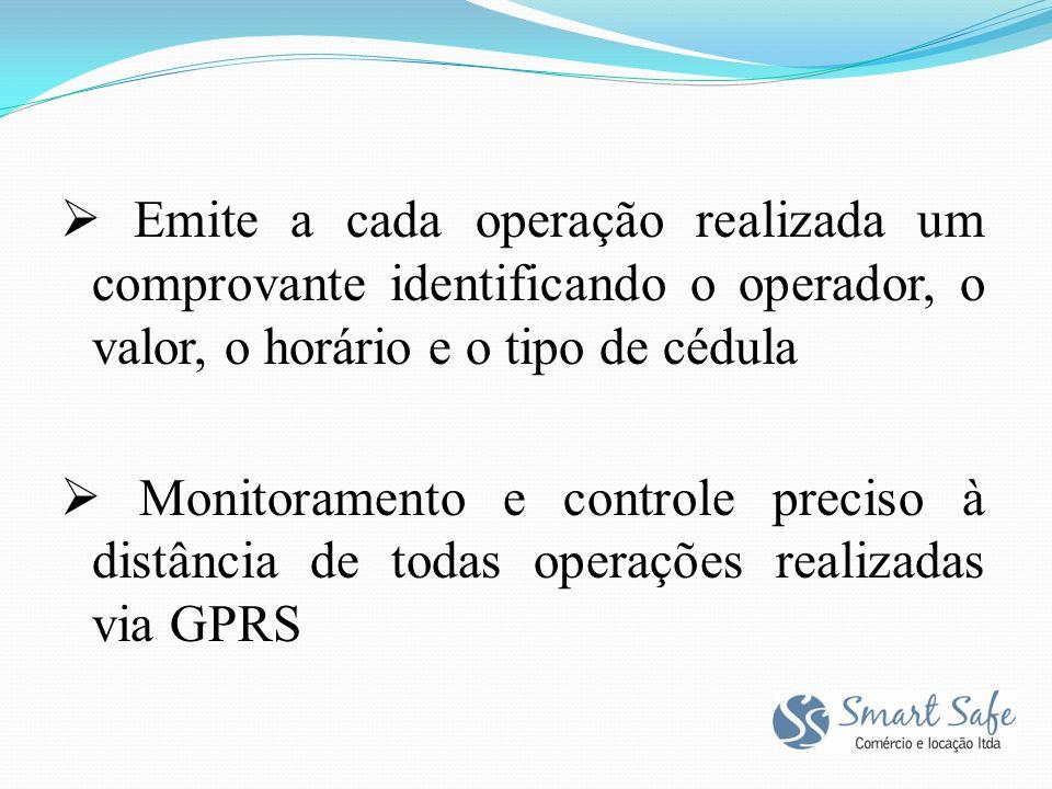 Emite a cada operação realizada um comprovante identificando o operador, o valor, o horário e o tipo de cédula Monitoramento e controle preciso à distância de todas operações realizadas via GPRS