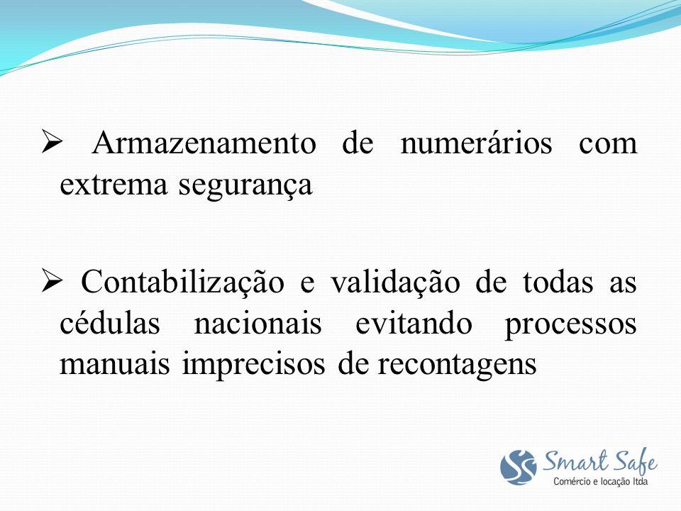 Armazenamento de numerários com extrema segurança Contabilização e validação de todas as cédulas nacionais evitando processos manuais imprecisos de re
