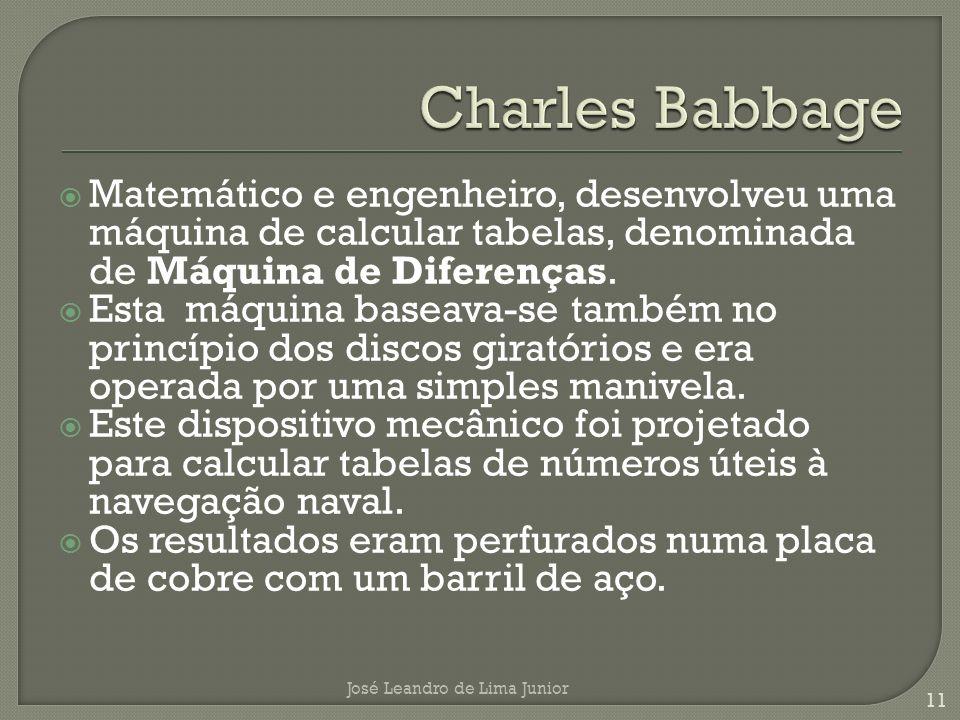 Matemático e engenheiro, desenvolveu uma máquina de calcular tabelas, denominada de Máquina de Diferenças.