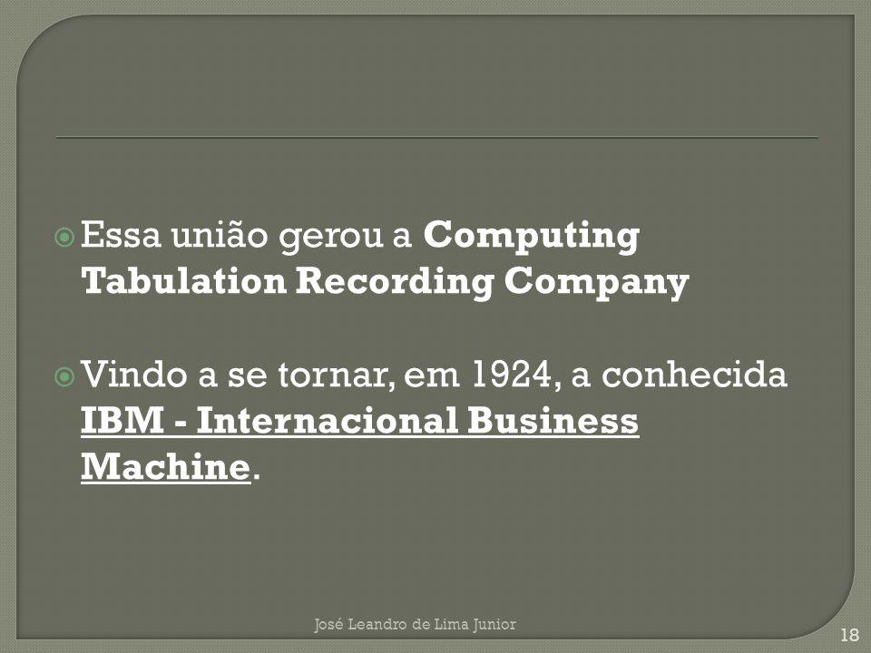 Essa união gerou a Computing Tabulation Recording Company Vindo a se tornar, em 1924, a conhecida IBM - Internacional Business Machine.