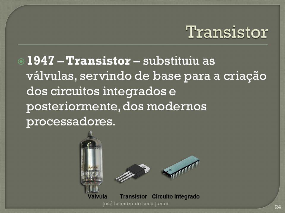 1947 – Transistor – substituiu as válvulas, servindo de base para a criação dos circuitos integrados e posteriormente, dos modernos processadores.