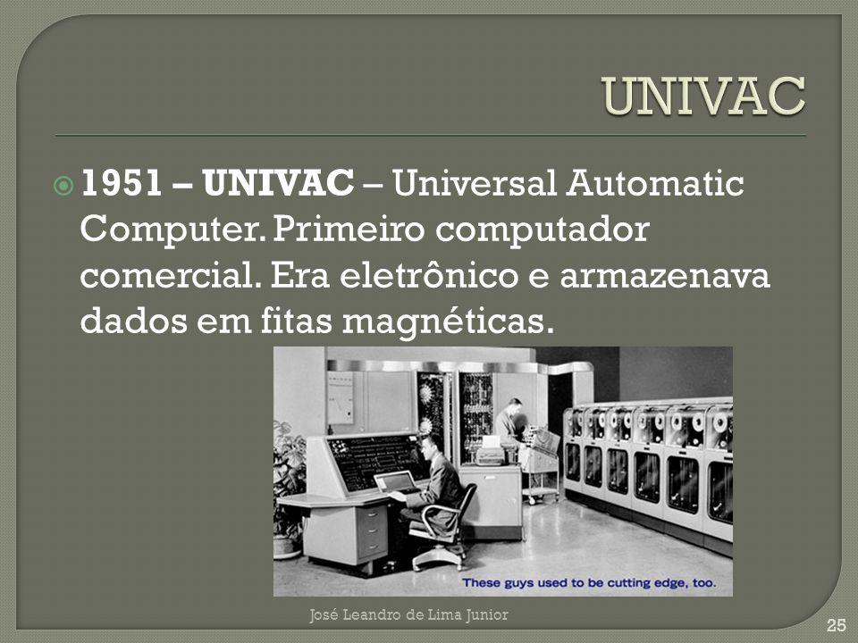 1951 – UNIVAC – Universal Automatic Computer.Primeiro computador comercial.