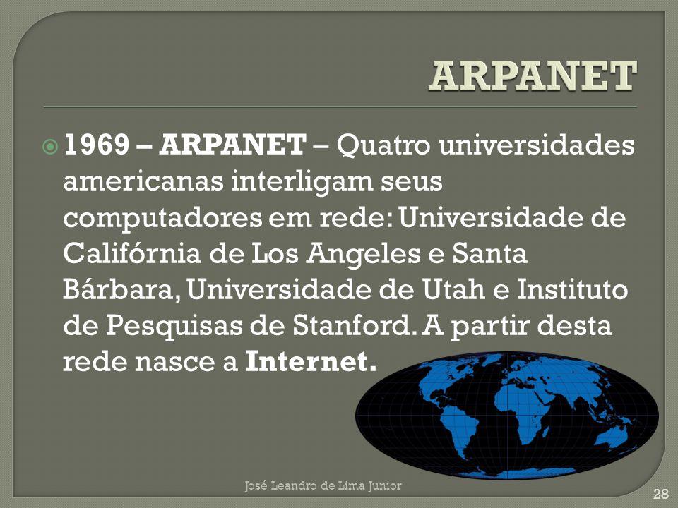 1969 – ARPANET – Quatro universidades americanas interligam seus computadores em rede: Universidade de Califórnia de Los Angeles e Santa Bárbara, Universidade de Utah e Instituto de Pesquisas de Stanford.