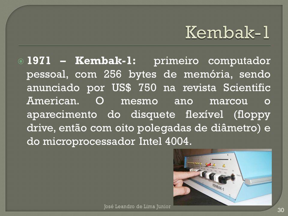 1971 – Kembak-1: primeiro computador pessoal, com 256 bytes de memória, sendo anunciado por US$ 750 na revista Scientific American.