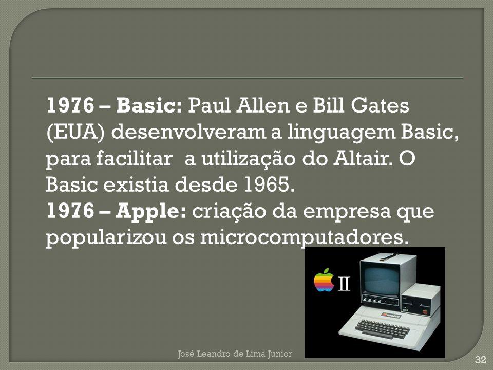1976 – Basic: Paul Allen e Bill Gates (EUA) desenvolveram a linguagem Basic, para facilitar a utilização do Altair.