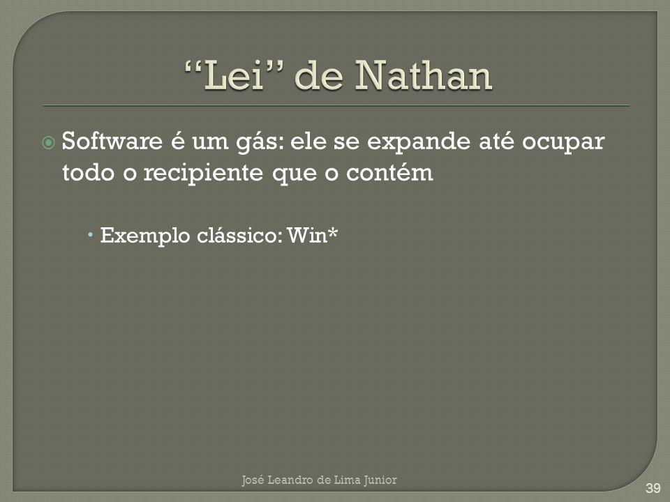 Software é um gás: ele se expande até ocupar todo o recipiente que o contém Exemplo clássico: Win* José Leandro de Lima Junior 39