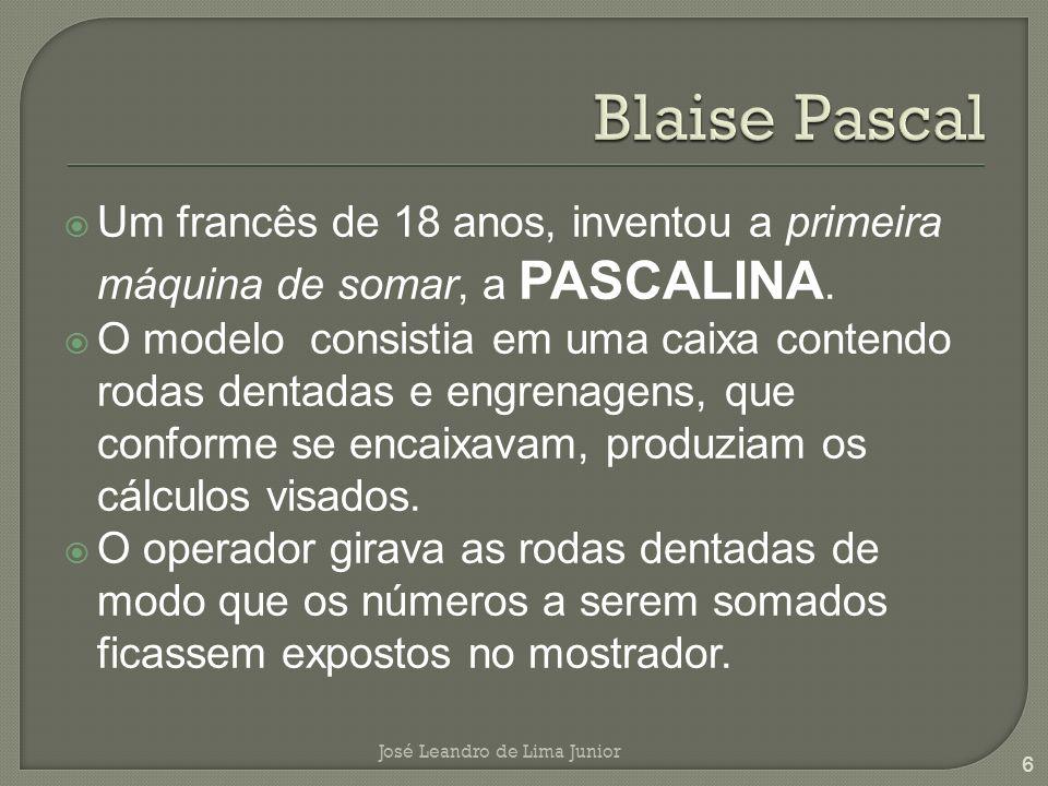 Um francês de 18 anos, inventou a primeira máquina de somar, a PASCALINA.