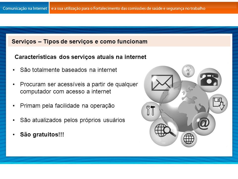 Características dos serviços atuais na internet São totalmente baseados na internet Procuram ser acessíveis a partir de qualquer computador com acesso
