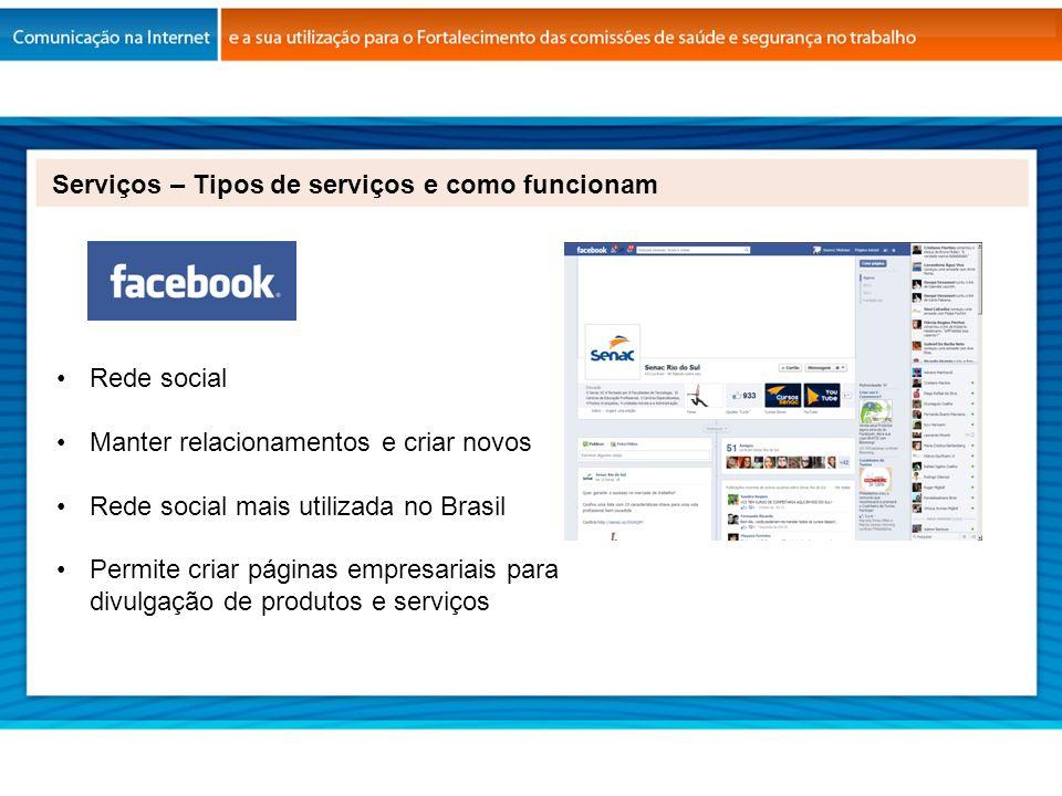 Rede social Manter relacionamentos e criar novos Rede social mais utilizada no Brasil Permite criar páginas empresariais para divulgação de produtos e