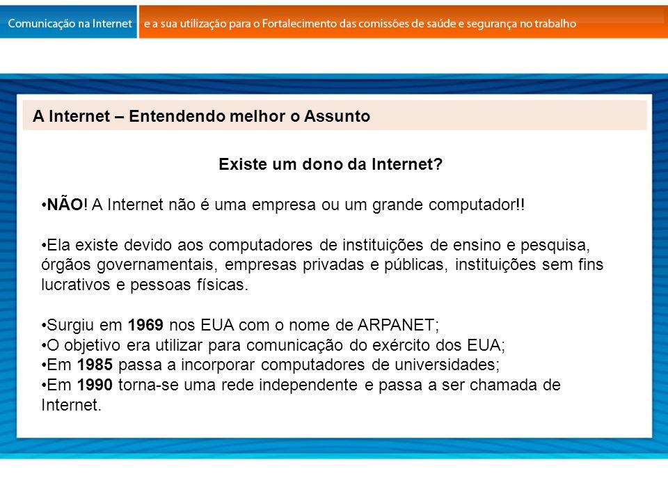A Internet – Entendendo melhor o Assunto Existe um dono da Internet? NÃO! A Internet não é uma empresa ou um grande computador!! Ela existe devido aos