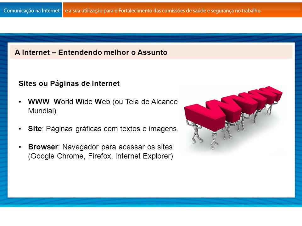 A Internet – Entendendo melhor o Assunto Sites ou Páginas de Internet WWW World Wide Web (ou Teia de Alcance Mundial) Site: Páginas gráficas com texto