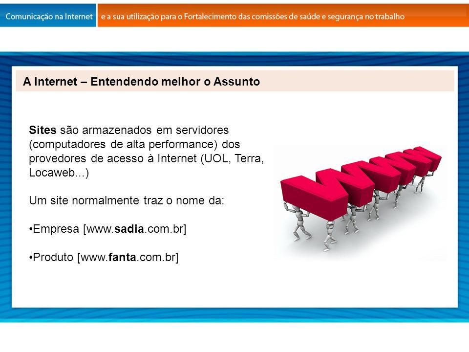 A Internet – Entendendo melhor o Assunto Sites são armazenados em servidores (computadores de alta performance) dos provedores de acesso à Internet (U