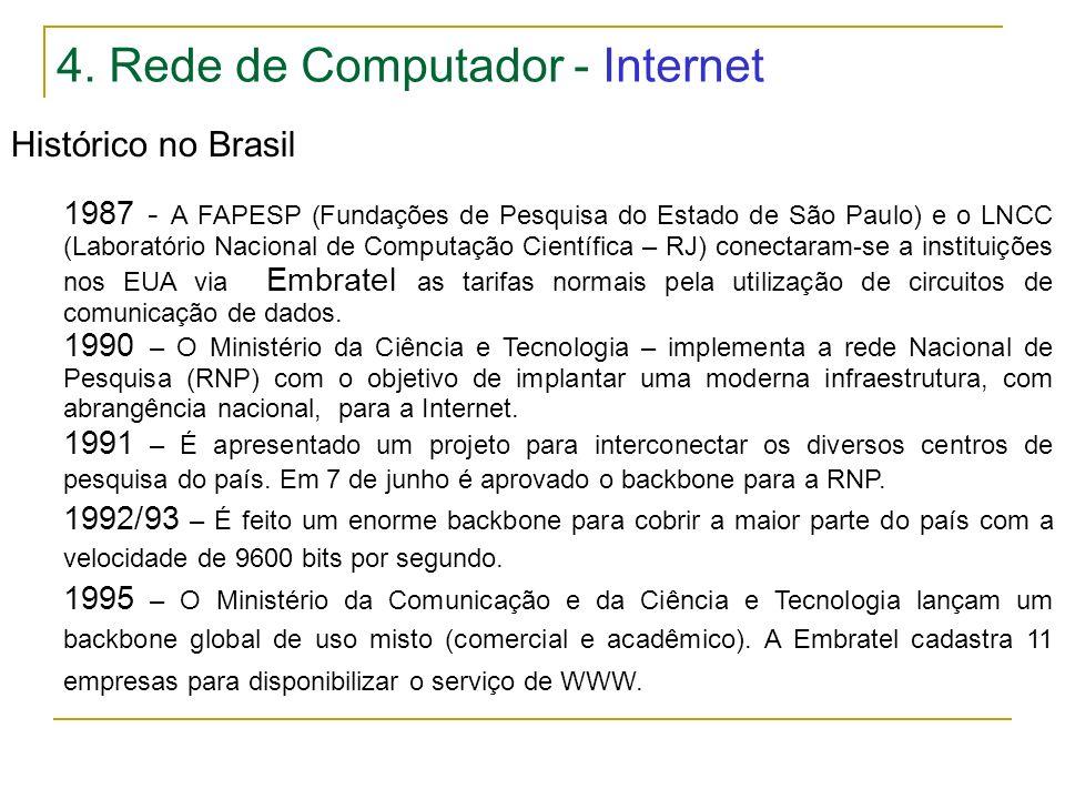 4. Rede de Computador - Internet Histórico no Brasil 1987 - A FAPESP (Fundações de Pesquisa do Estado de São Paulo) e o LNCC (Laboratório Nacional de