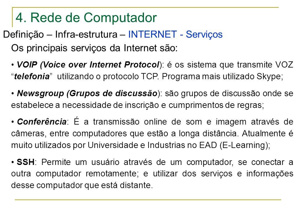 4. Rede de Computador Definição – Infra-estrutura – INTERNET - Serviços Os principais serviços da Internet são: VOIP (Voice over Internet Protocol): é