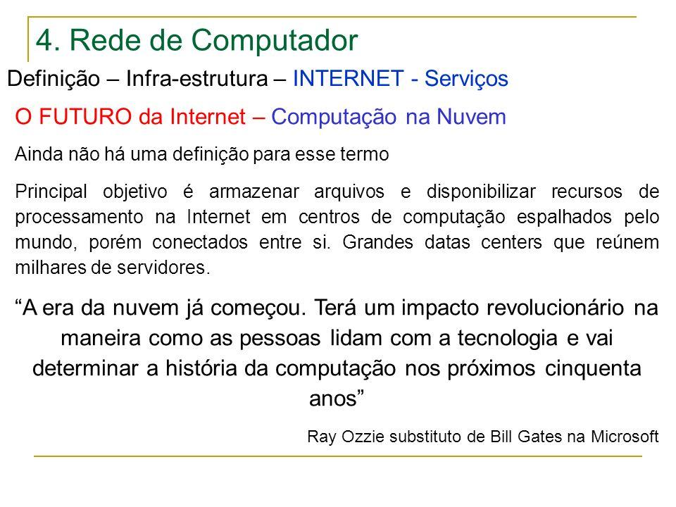 4. Rede de Computador Definição – Infra-estrutura – INTERNET - Serviços O FUTURO da Internet – Computação na Nuvem Ainda não há uma definição para ess