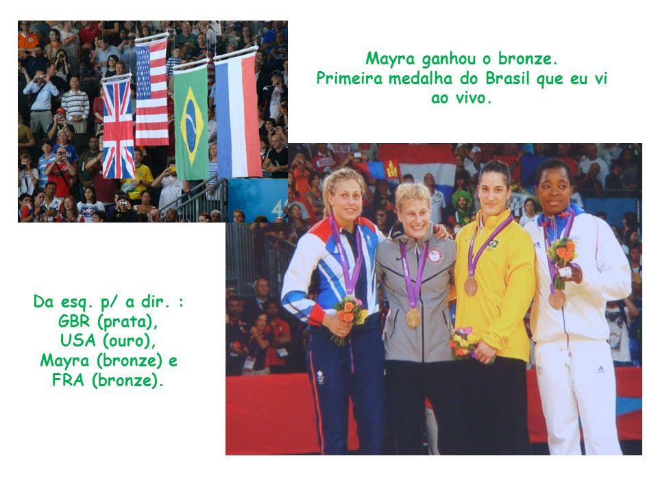 Mayra ganhou o bronze. Primeira medalha do Brasil que eu vi ao vivo. Da esq. p/ a dir. : GBR (prata), USA (ouro), Mayra (bronze) e FRA (bronze).