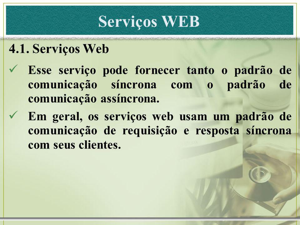 Serviços WEB 4.1. Serviços Web Esse serviço pode fornecer tanto o padrão de comunicação síncrona com o padrão de comunicação assíncrona. Em geral, os