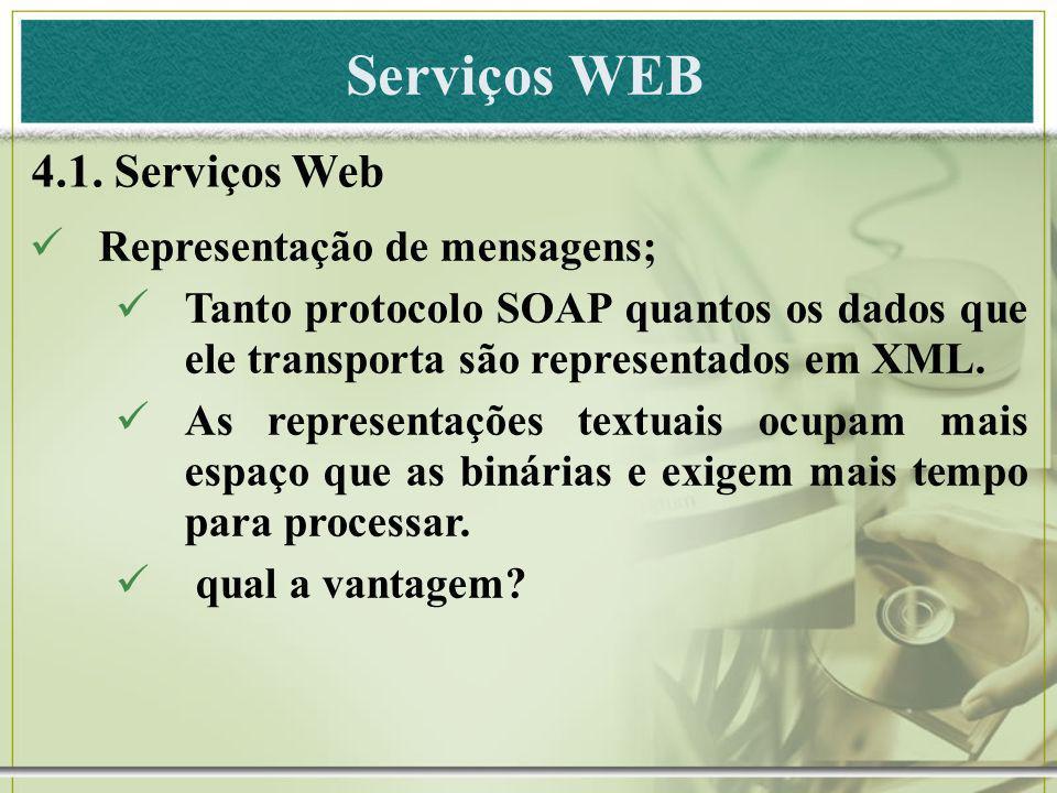 Serviços WEB 4.1. Serviços Web Representação de mensagens; Tanto protocolo SOAP quantos os dados que ele transporta são representados em XML. As repre