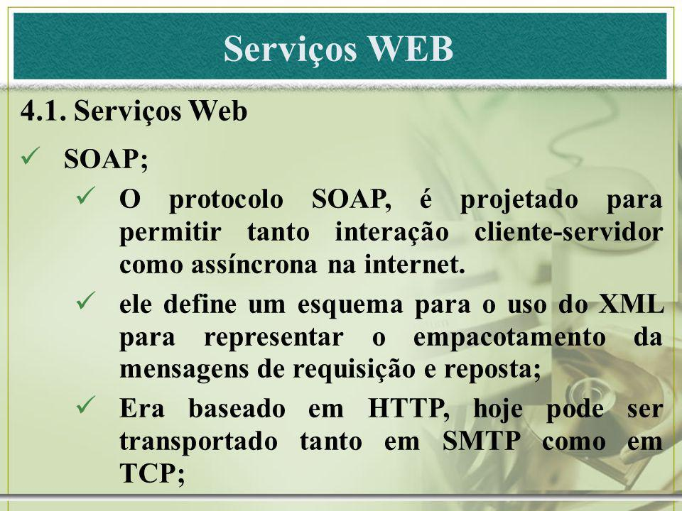 Serviços WEB 4.1. Serviços Web SOAP; O protocolo SOAP, é projetado para permitir tanto interação cliente-servidor como assíncrona na internet. ele def