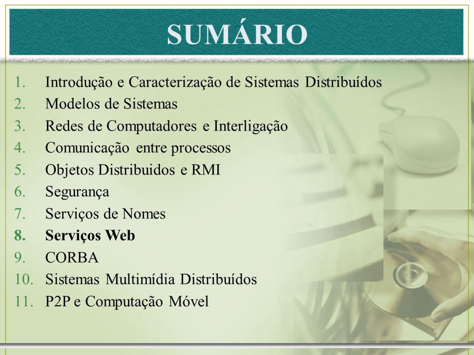 SUMÁRIO 1.Introdução e Caracterização de Sistemas Distribuídos 2.Modelos de Sistemas 3.Redes de Computadores e Interligação 4.Comunicação entre proces