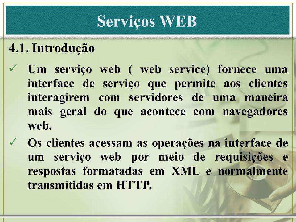 Serviços WEB 4.1. Introdução Um serviço web ( web service) fornece uma interface de serviço que permite aos clientes interagirem com servidores de uma