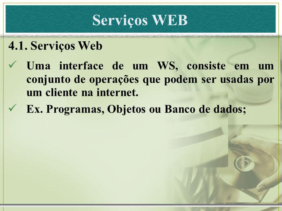 Serviços WEB 4.1. Serviços Web Uma interface de um WS, consiste em um conjunto de operações que podem ser usadas por um cliente na internet. Ex. Progr