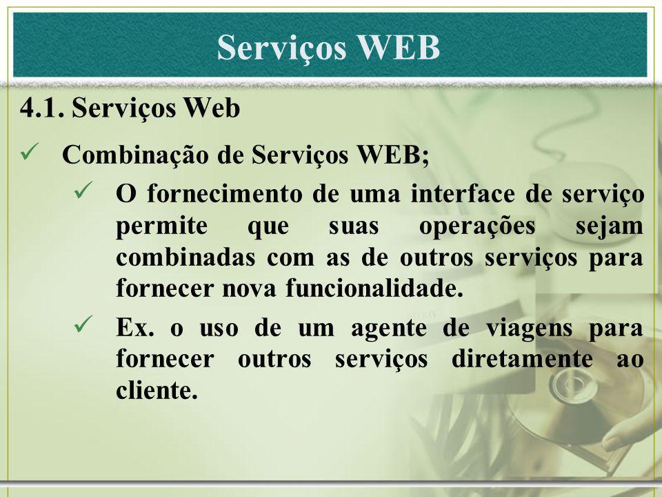 Serviços WEB 4.1. Serviços Web Combinação de Serviços WEB; O fornecimento de uma interface de serviço permite que suas operações sejam combinadas com