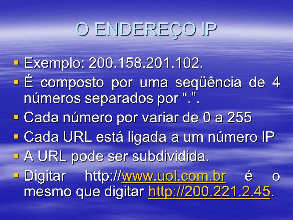 O ENDEREÇO IP Exemplo: 200.158.201.102. Exemplo: 200.158.201.102. É composto por uma seqüência de 4 números separados por.. É composto por uma seqüênc