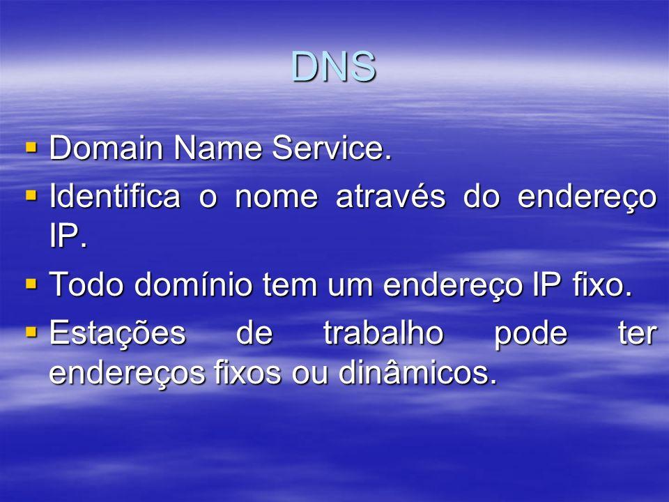 DNS Domain Name Service. Domain Name Service. Identifica o nome através do endereço IP. Identifica o nome através do endereço IP. Todo domínio tem um