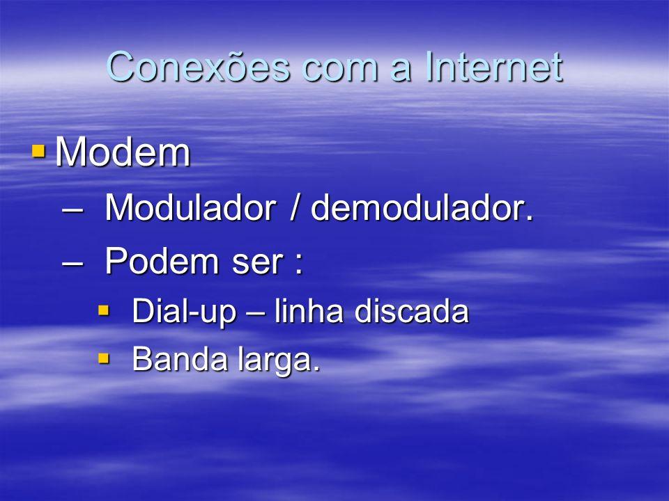 Conexões com a Internet Modem Modem – Modulador / demodulador. – Podem ser : Dial-up – linha discada Dial-up – linha discada Banda larga. Banda larga.