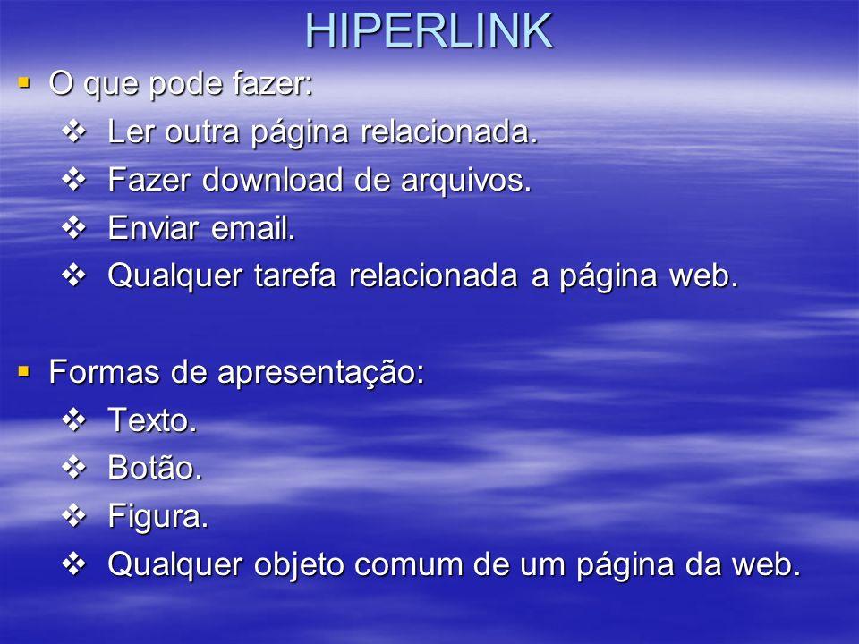 HIPERLINK O que pode fazer: O que pode fazer: Ler outra página relacionada. Ler outra página relacionada. Fazer download de arquivos. Fazer download d