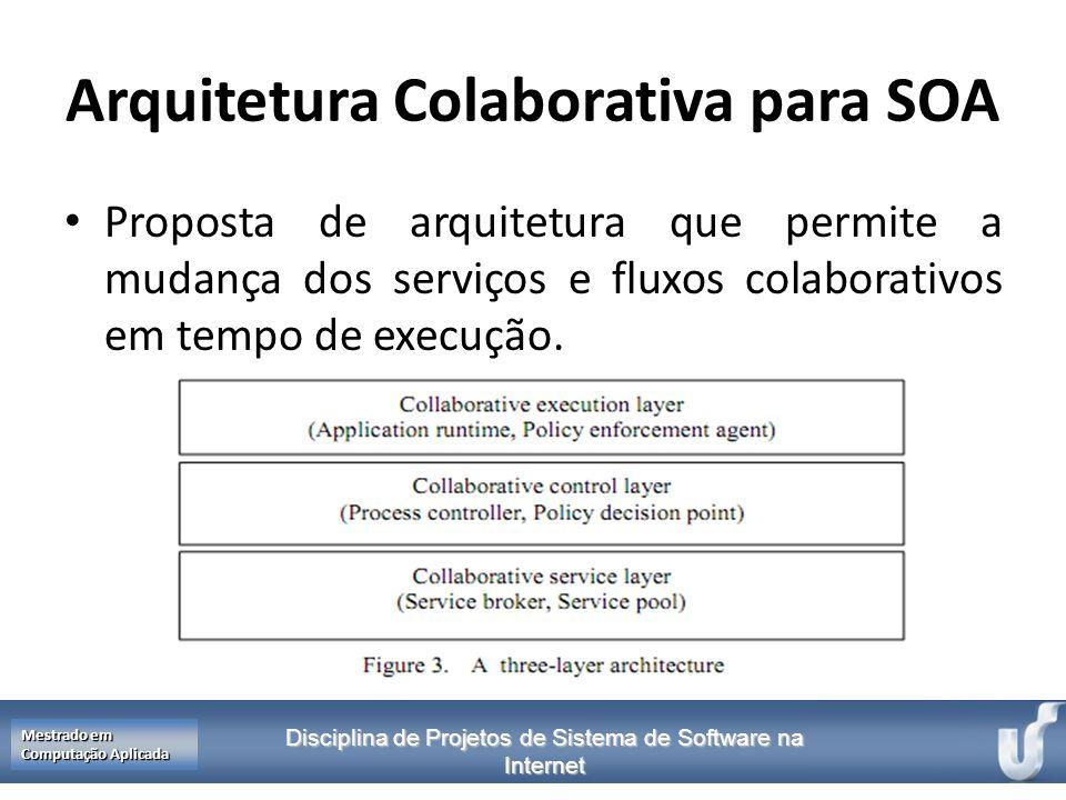 Disciplina de Projetos de Sistema de Software na Internet Mestrado em Computação Aplicada Arquitetura Colaborativa para SOA Proposta de arquitetura qu