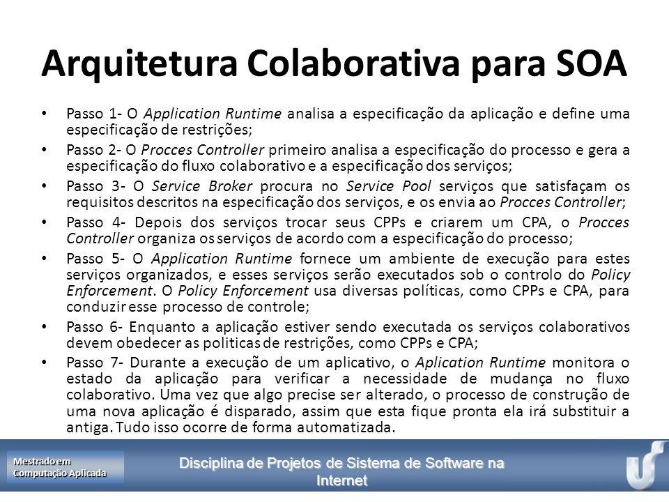 Disciplina de Projetos de Sistema de Software na Internet Mestrado em Computação Aplicada Arquitetura Colaborativa para SOA Passo 1- O Application Run