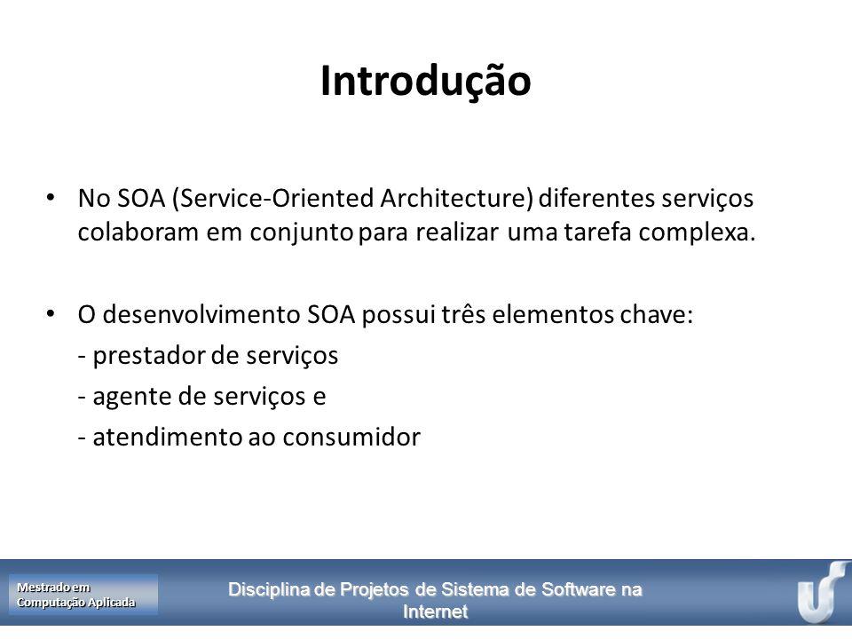 Disciplina de Projetos de Sistema de Software na Internet Mestrado em Computação Aplicada Introdução No SOA (Service-Oriented Architecture) diferentes