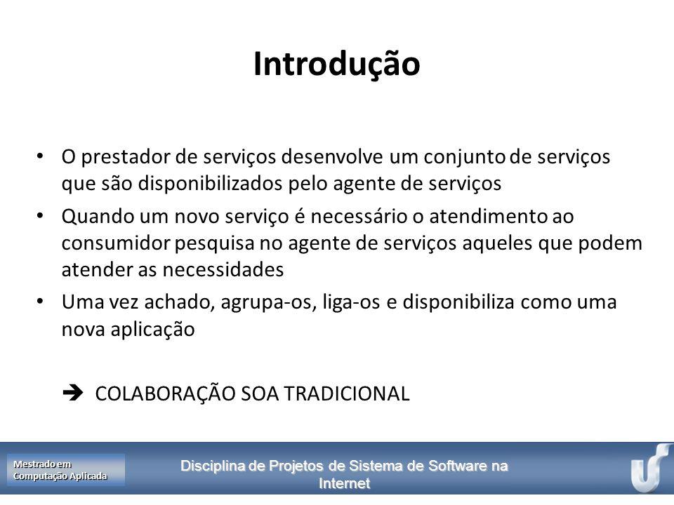 Disciplina de Projetos de Sistema de Software na Internet Mestrado em Computação Aplicada Introdução O prestador de serviços desenvolve um conjunto de