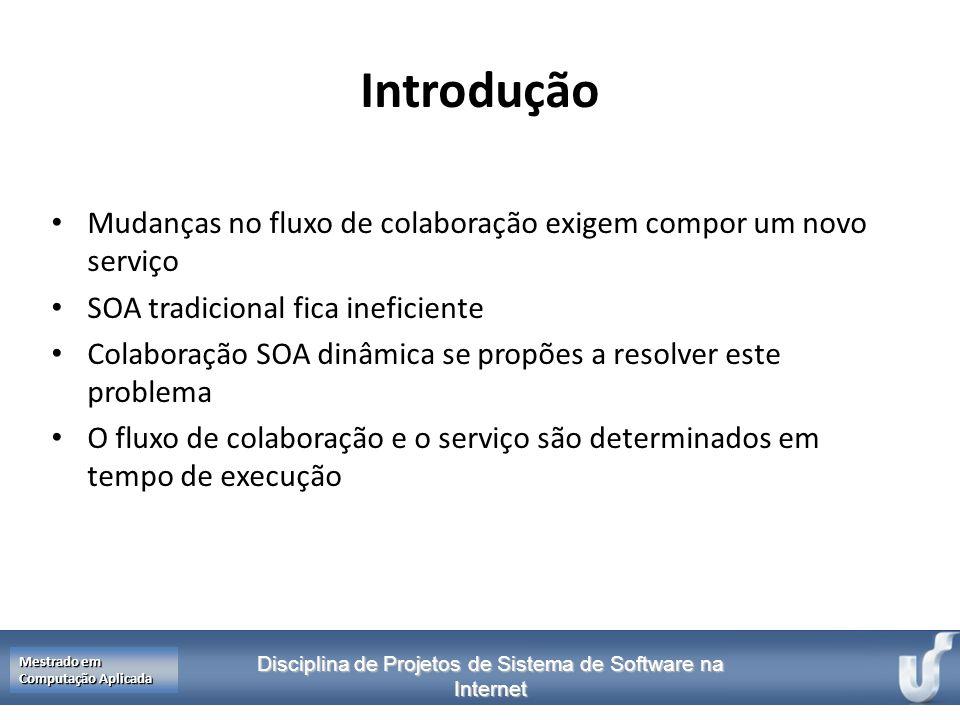 Disciplina de Projetos de Sistema de Software na Internet Mestrado em Computação Aplicada Introdução Mudanças no fluxo de colaboração exigem compor um