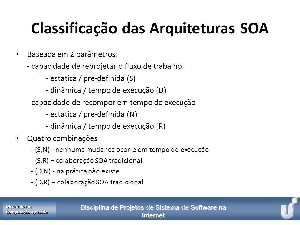 Disciplina de Projetos de Sistema de Software na Internet Mestrado em Computação Aplicada Classificação das Arquiteturas SOA Baseada em 2 parâmetros: