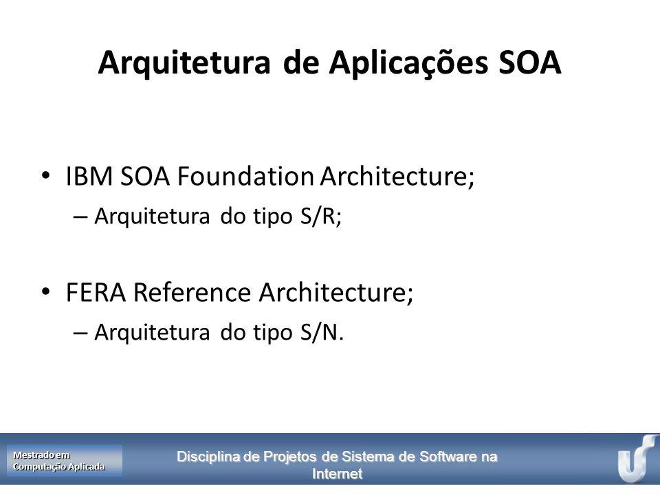 Disciplina de Projetos de Sistema de Software na Internet Mestrado em Computação Aplicada Arquitetura de Aplicações SOA IBM SOA Foundation Architectur